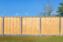 Built New Horizontal Wooden Fence Construction
