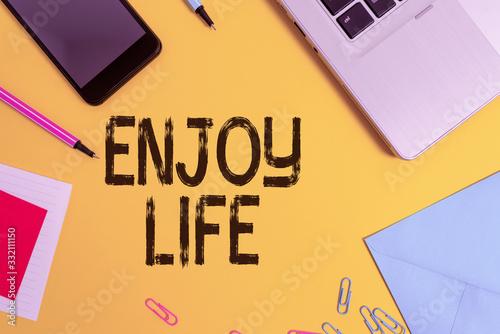 Conceptual hand writing showing Enjoy Life Canvas Print