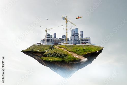 Fototapeta Industrial power plant with smokestack obraz