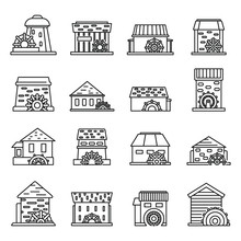 Farm Water Mill Icons Set. Outline Set Of Farm Water Mill Vector Icons For Web Design Isolated On White Background