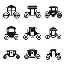 Brougham Icons Set. Simple Set...