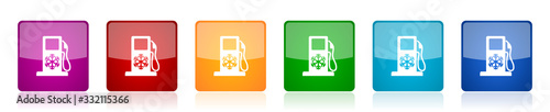 Winter fuel icon set, colorful square glossy vector illustrations in 6 options f Fototapete