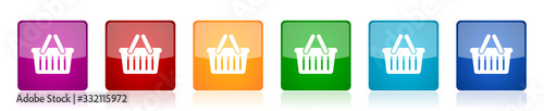 Fotografie, Obraz Shopping basket icon set, colorful square glossy vector illustrations in 6 optio
