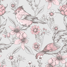 Seamless Vintage Pattern With Flowers And Birds