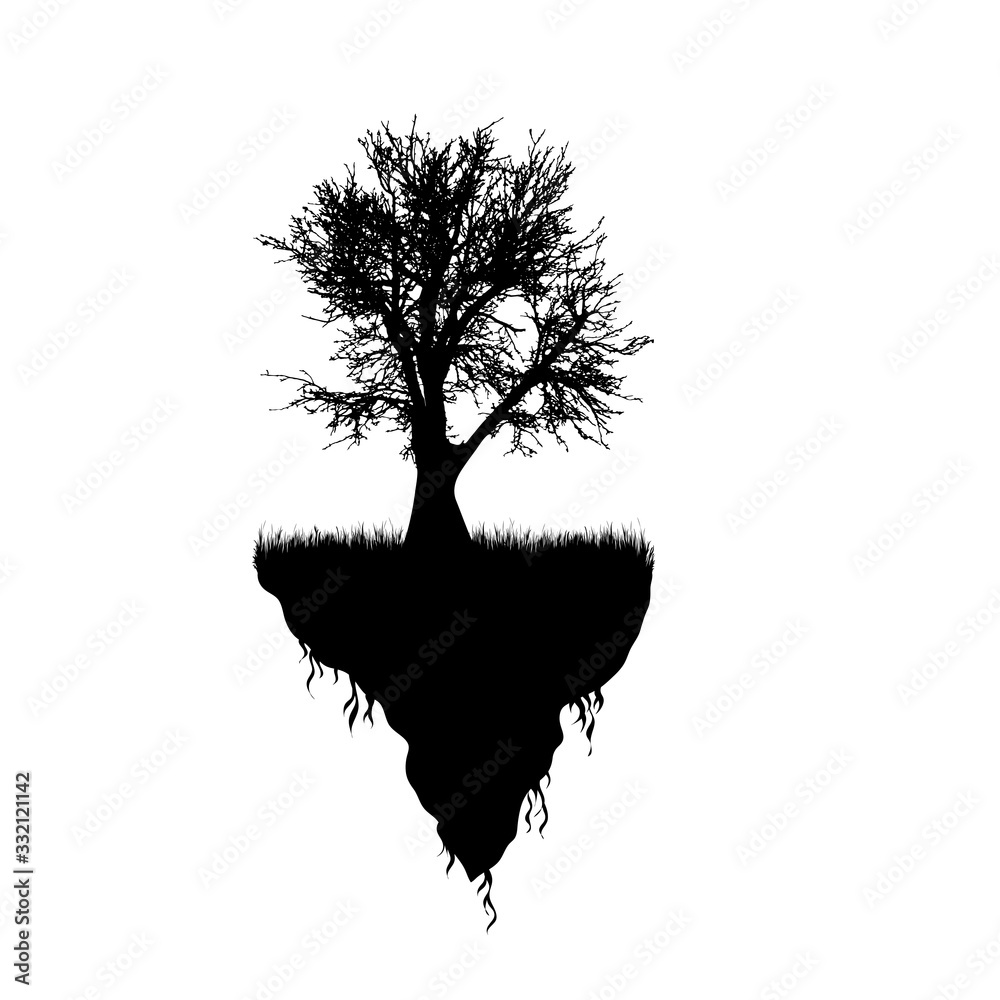 Fototapeta Vector silhouette of piece of land with tree on white background. Symbol of nature and planet.