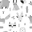 Vector hand-drawn seamless repeating childish pattern with forest animals doodles in Scandinavian style on a white background. Scandinavian pattern with animals. Children's print.