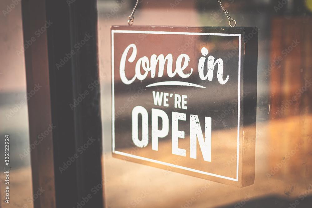 Fototapeta Welcome open sign on door .vintage tone.