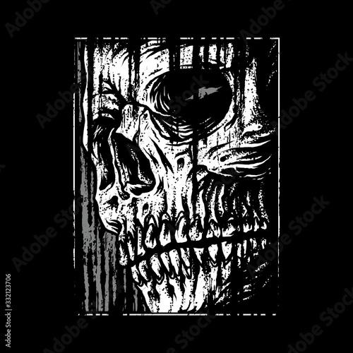 Photo Skull horror graphic illustration vector art t-shirt design