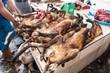 canvas print picture - Fleisch, Markt, Hunde