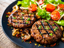 Barbecue Steaks With Vegetable...
