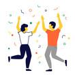 Hombre y mujer en fiesta de celebración. Conceptos de victoria, celebración y diversión.