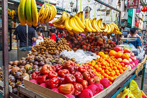Photo Kuala Lumpur, Malaysia - January 24, 2020: Assortment of exotic Asian fruits in