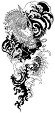 Chinese Or East Asian Dragon With Water Waves. Black And White Tattoo. Vector Illustration