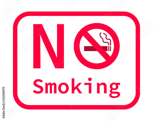 No smoking sign image on white background Wallpaper Mural