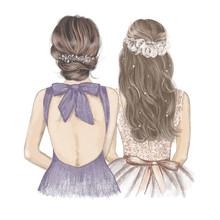 Bride With Bridesmaid Side By ...