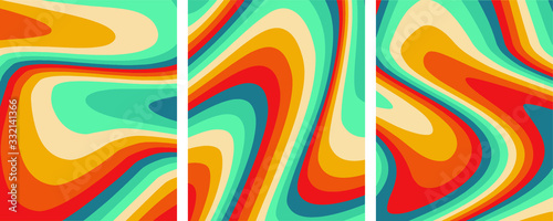 Retro colorful abstract art template set,vector Canvas Print