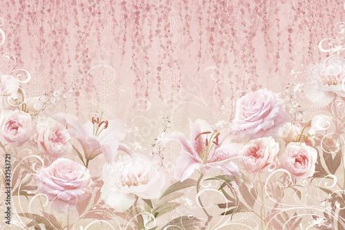 Fototapety do przedpokoju  kolaz-roz-i-lilii-z-kropkami-na-fakturze-kamienia-kolaz-cyfrowy-mural-i-fresk