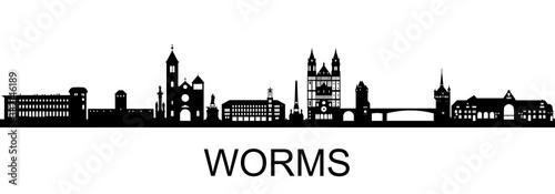 Worms Skyline Canvas
