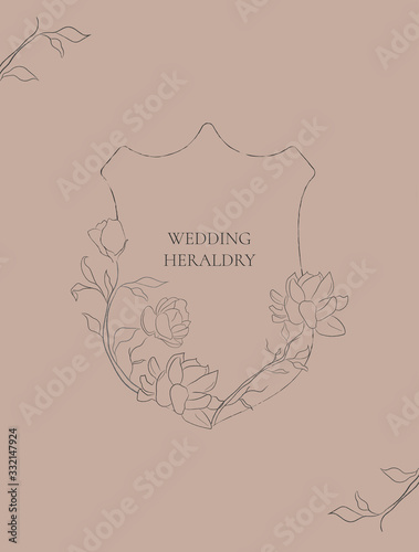 line drawing vector Floral heraldry with hand drawn Jasmine Flowers, plants, branches, herbs Wallpaper Mural