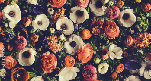 Vintage bouquet of beautiful different flowers. Floral background. - 332149100
