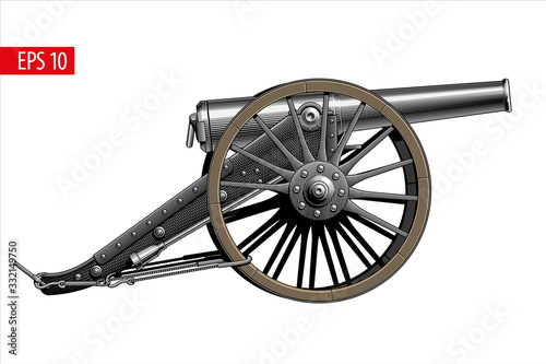Fotomural Vintage cannon, isolated on white background