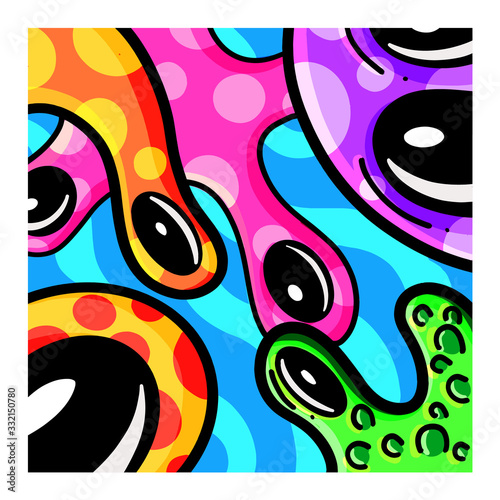 Wallpaper Mural A Collection of Funny Cartoon Imaginary Monsters Illustration Vectors