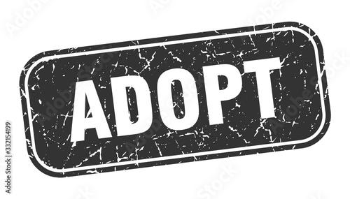 Photo adopt stamp. adopt square grungy black sign.