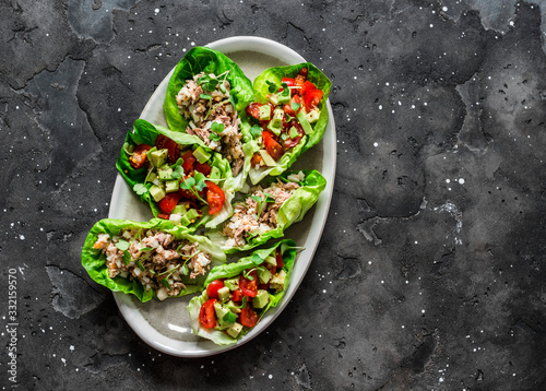 Fototapeta Leaf of mini roman salad stuffed with tuna, egg, tomato, avocado on a dark background, top view. Delicious appetizer, tapas, snack obraz