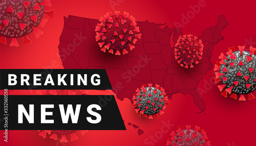 Obraz Breaking News, COVID-19 or Coronavirus news in the usa or the world. Vector illustration - fototapety do salonu