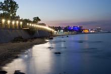 Night View Of Embankment In Odessa City Near The Black Sea