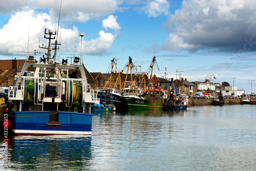 Fishing ships at Howth ( Dublin ), Ireland Wallpaper Mural