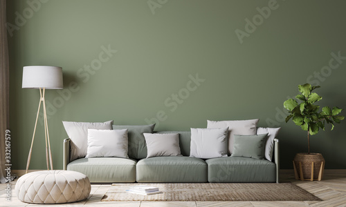 Obraz Empty wall interior design in modern living room mock-up , green couch with white cushions Scandinavian style, 3d rendering, illustration - fototapety do salonu