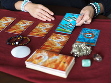 Tarot Card Reading Eight Of Wands Wheel Of Fortune Teller Astrologer Divination Selected Focus