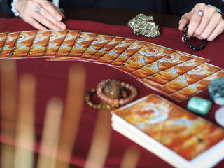 tarot card reading fortune teller astrologer divination selected focus