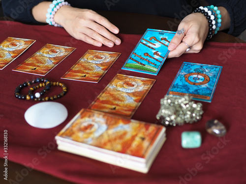 tarot card reading eight of wands wheel of fortune teller astrologer divination Canvas Print
