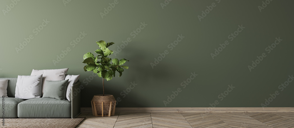 Fototapeta Empty wall interior design in modern living room mock-up , green couch with white cushions Scandinavian style, 3d rendering, illustration