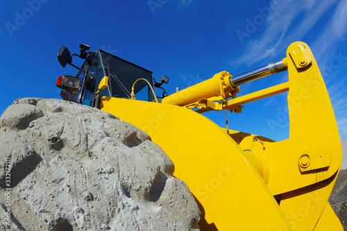 yellow construction equipment backhoe earthmover excavator heavy machine Canvas Print