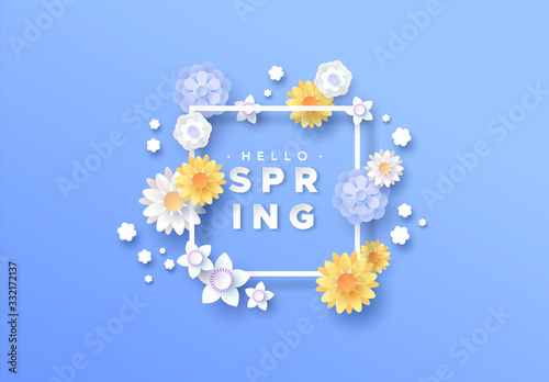 Fototapeta Hello spring paper cut floral frame background obraz