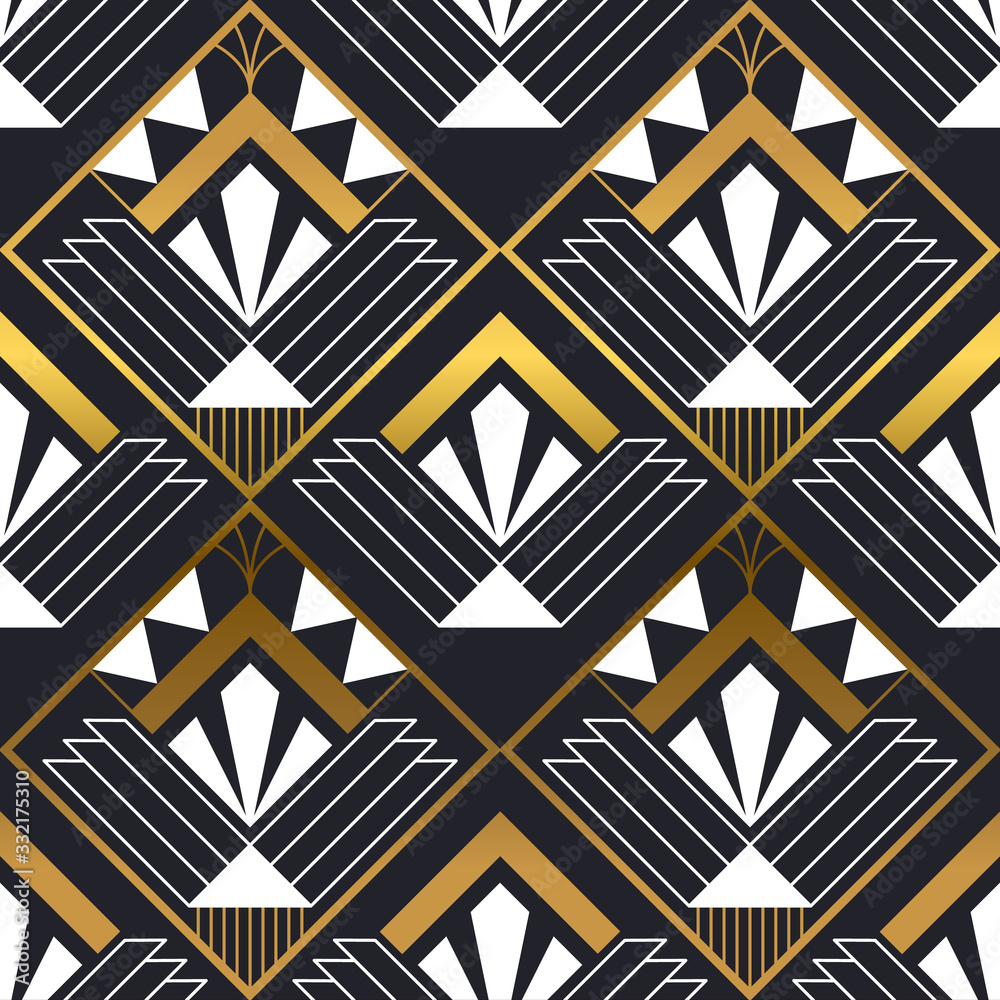 Abstract art deco gold black seamless pattern