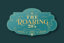 The Roaring 20s Art Deco Label Template In 3d Gold