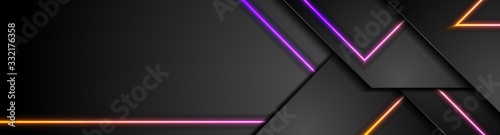 Fototapeta Black tech geometric abstract banner design with neon laser lines. Glowing modern futuristic background. Vector illustration obraz