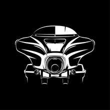 Vector Illustration Of Cruiser Touring Motorcycle Silhouette On Black Background. Can Be Used For Printed On Motorcycle Club T-shirt, Background, Banner, Posters, Etc.