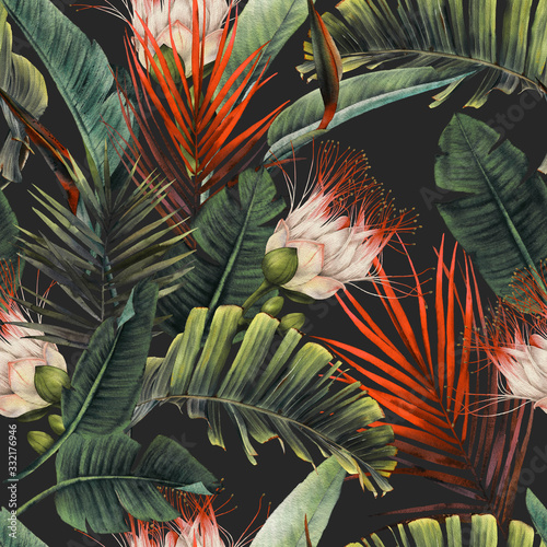 Fototapeta Seamless floral pattern with tropical flowers and leaves on dark background. Template design for textiles, interior, clothes, wallpaper. Watercolor illustration obraz