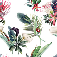 Seamless floral pattern with tropica flowers andl leaves on light background....