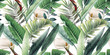 canvas print picture - Seamless floral pattern with tropical leaves on light background. Template design for textiles, interior, clothes, wallpaper. Watercolor illustration