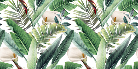 Seamless floral pattern with tropical leaves on light background. Template de...