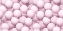 Seamless Pattern With Light Pink Balls. Minimal Poster Consept, 3d Illustration. Abstract Pastel Background.
