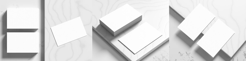 Business card mock ups isolated on white marble background. Three different business card mock ups. 3D illustration.
