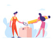 Deliver Man Bringing Box to Consumer. Businesswoman with Huge Pencil Sign Bill for Getting Parcel from Delivery Courier. Goods Shipping and Order Service, Shopping. Cartoon People Vector Illustration