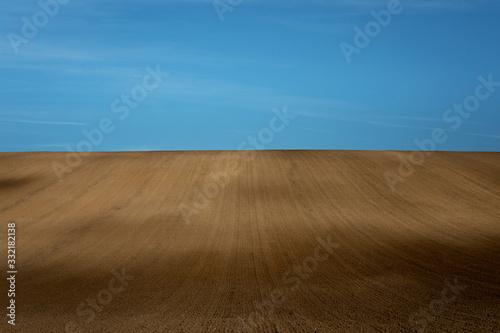 Beautiful harsh landscape of plowed Moravian fields in the autumn season Wallpaper Mural